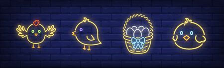 Cute spring chicken neon sign set. Baby bird, eggs, basket. Vector illustration in neon style, bright banner for topics like Easter, holiday, celebration Ilustrace