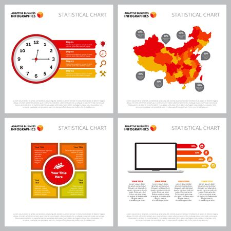 Modern infographic model set can be used for web design, presentation slide, reports. Business and marketing concept with map diagram, timing, matrix charts