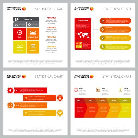 Creative infographic style collection can be used for web design, presentation slide, workflow. Business concept with matrix, flow, proces, step charts