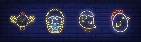 Spring chicken neon sign set. Newborn bird, basket of eggs, egg shell Vector illustration in neon style, bright banner for topics like Easter, holiday, celebration