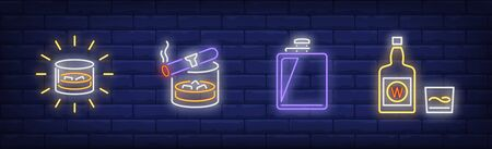 Strong drinks neon sign set. Glass of scotch, cigar, flask, bottle. Vector illustration in neon style, bright banner for topics like refreshment, whiskey, bar Ilustração