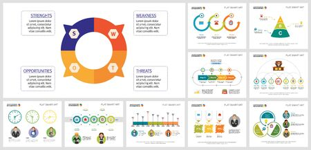 Colored infographics design set for statistic layout, monthly analysis, presentation slide, web design. Business and development concept with doughnut diagram, percentage, process, and cycle charts. Ilustracja