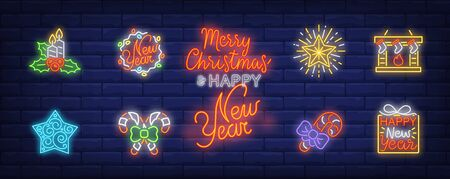 Christmas Eve neon sign set. Candy canes, fireplace, candle, stockings. Vector illustration in neon style, bright banner for topics like Xmas, New Year, decoration