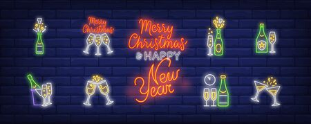 Christmas champagne neon sign set. Fizzy wine, bottle, flutes. Vector illustration in neon style, bright banner for topics like Xmas, New Year party, holiday