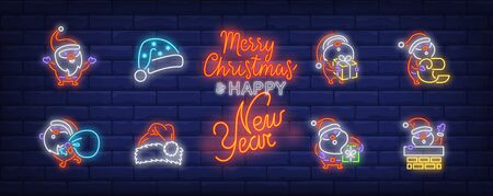 Cute Santa neon sign set. Santa Claus holding present, carrying bag with gifts, reading list. Vector illustration in neon style, bright banner for topics like Xmas, Christmas party, holiday