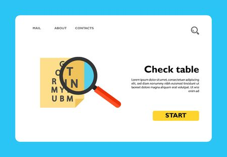 Icon of check table. Magnifying glass, zooming, chart. Oculist concept. Can be used for topics like eye test, medical examination or eyesight Çizim