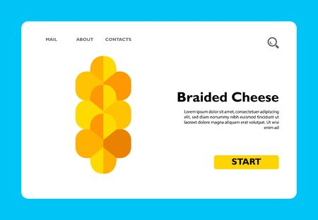 Multicolored vector icon of traditional braided cheese usually served as beer snack Ilustração