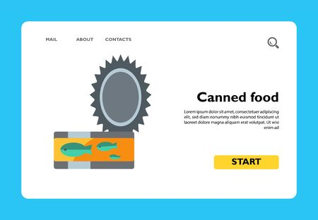 Vector icon of canned fish. Canned food, pet feeding, conserve. Cat care concept. Can be used for topics like food, pet care, travel