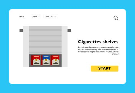 Icon of cigarettes shelves. Shop, selling, display case. Smoking concept. Can be used for topics like supermarket, sale product, merchandising Ilustrace