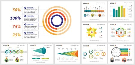 Collage of creative infographic diagrams with geometric elements. Can be used for workflow layout, presentation slide, web design. Business and accounting concept with radial bar and timeline charts Ilustração