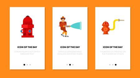 Putting out fire flat vector icon set. Fire hydrant, fireman, fire safety isolated sign pack. Fire control and protection concept. Vector illustration symbol elements for web design and apps.