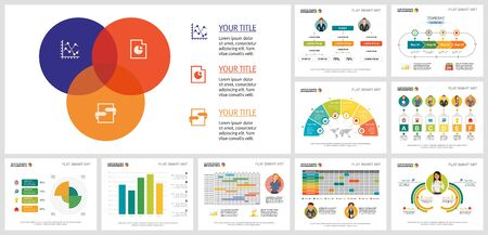 Colorful infocharts design set for workflow analysis, HR report, presentation, web site. Business and HR assessment concept with process diagram, venn diagram, bar, radial, flow, percentage charts