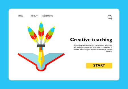 Multicolored vector icon of open book and pen with colored feathers representing creative teaching