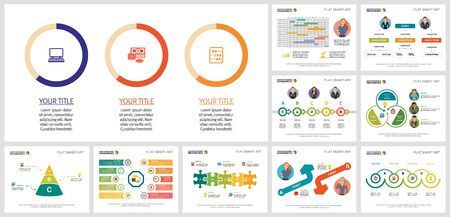 Set of creative business infographic designs. Can be used for workflow layout, report, presentation slide, web design. Business and accounting concept with timeline, doughnut and flow charts