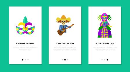 Celebrating carnival flat vector icon set. Mask, gown, costume, sombrero, skull isolated sign pack. Celebration and festivity concept. Vector illustration symbol elements for web design and apps.