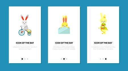 Festive Easter bunny flat icon set. Cute cartoon character, riding bike, carrying eggs. Holiday, celebration, spring concept. Vector illustration symbol elements for web design