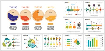Infographic design elements for presentation slide templates. Can be used for workflow layout, annual report, presentation slide, web design. Business and accounting concept with pie, process charts Ilustração
