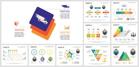 Set of colorful business infographic designs. Can be used for workflow layout, annual report, presentation slide, web design. Business and accounting concept with process and percentage charts