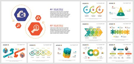 Set of statistics or strategy concept infographic charts. Can be used for workflow layout, annual report, presentation slide, web design. Business concept with process and cycle charts
