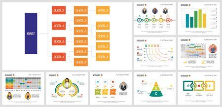 Creative diagram set for presentation slide template, business project schedule, workflow layout. Management, company structure concept. Flowchart, hierarchy, process, bar, option, matrix charts