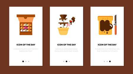 Chocolate desserts flat icon set. Ice cream, paste, sandwich, fountain. Sweets, confectionary, dessert concept. Vector illustration symbol elements for web design