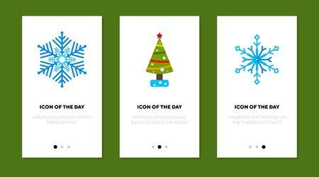 New Year time flat icon set. Snowflake, Christmas tree, winter. Winter holiday, celebration, december concept. Vector illustration symbol elements for web design Ilustração