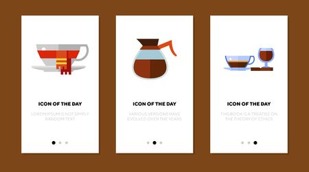 Hot drinks flat icon set. Cup of tea, pot of coffee, glass of wine. Coffee shop, cafe, winter menu concept. Vector illustration symbol elements for web design Ilustrace