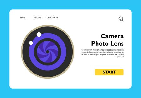 Illustration of camera photo lens. Photo equipment, zooming, device, taking photo. Photography concept. Can be used for topics like photography, photo equipment, technology