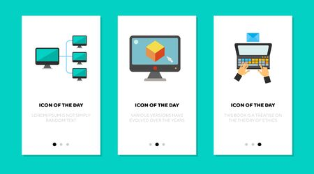 Digital communication flat icon set. Using computer, email, hierarchy structure. Computing, technology, network, wireless connection concept. Vector illustration symbol elements for web design