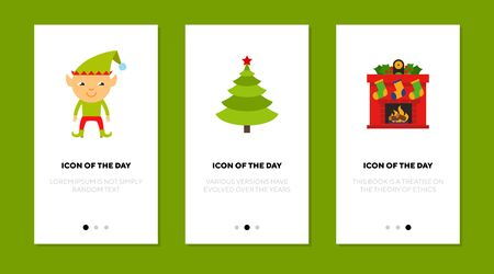 Christmas flat icon set. Elf, Xmas tree, fireplace with stockings. Winter holiday, celebration, New Year concept. Vector illustration symbol elements for web design