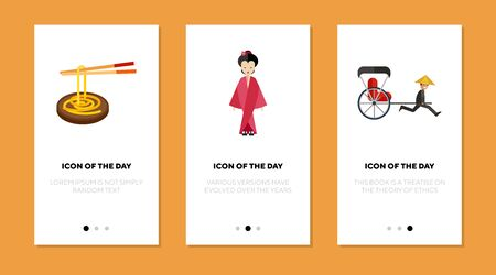 Japanese national symbols flat vector icon set. Chopstick, noodle, geisha, pedicab isolated sign pack. Asian culture and tradition concept. Vector illustration symbol elements for web design and apps.