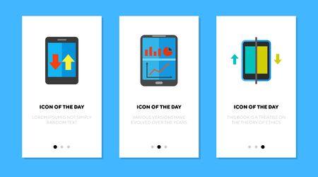 Data analysis flat icon set. Digital device, report, graphs. Software, app, marketing concept. Vector illustration symbol elements for web design