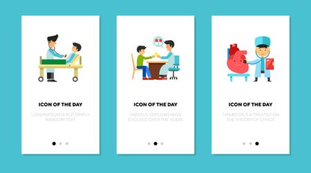 Doctor visit flat icon set. Patient, child, pediatrician, heart. Medical checkup, consulting, healthcare concept. Vector illustration symbol elements for web design
