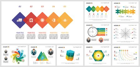 Collage of original business infographic charts. Can be used for workflow layout, annual report, presentation slide, web design. Business and accounting concept with radar and process charts Ilustração