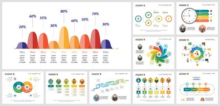 Collage of original marketing concept graphic charts. Can be used for workflow layout, report, presentation slide, web design. Business concept with percentage, process and cycle charts