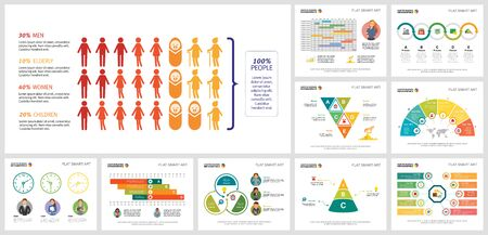 Set of business infographic diagrams. Can be used for workflow layout, annual report, presentation slide, web design. Business and accounting concept with percentage, timeline and process charts