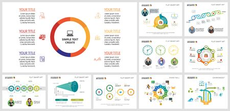 Collage of graphic business infographic charts. Can be used for workflow layout, annual report, presentation slide, web design. Business and accounting concept with doughnut and process charts Ilustração