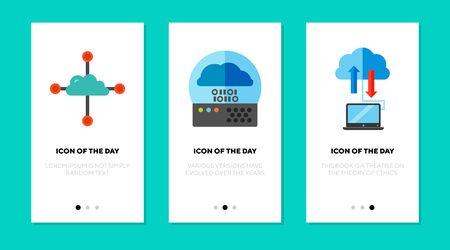 Cloud technology flat icon set. Computer, server, router. Data exchange, networking, wireless connection concept. Vector illustration symbol elements for web design Ilustração