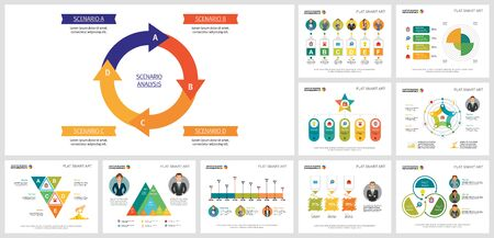 Helpful business chart design set for management template, monthly analysis, presentation, web. Business and development concept with cycle diagram, timeline, pie, flow, step, and percentage charts.
