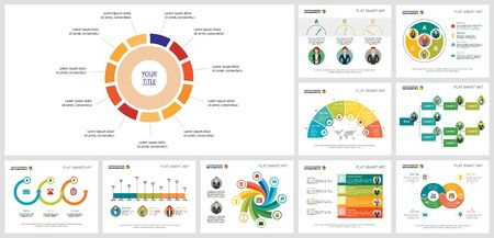 Set of colorful business infographic slide designs. Can be used for workflow layout, annual report, presentation slide, web design. Business and accounting concept with doughnut, cycle and flow charts Ilustração