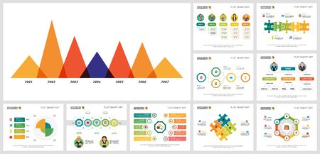 Collage of original business infographic designs. Can be used for workflow layout, annual report, presentation slide, web design. Business and accounting concept with timeline, area and process charts