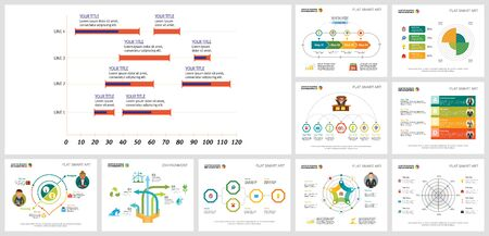 Colorful analysis and ecology concept infographics set can be used for workflow layout, brochure design, report, web design and includes pie, flow, Venn, radar charts, cycles, percentage, process Ilustração