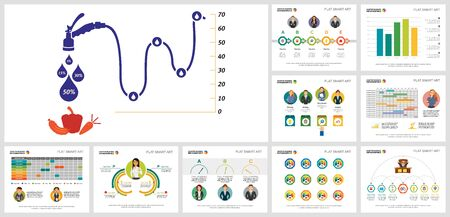 Colorful analysis and agriculture concept infographics set can be used for workflow layout, reports, presentation slide and includes bar, line, radial bar charts, percentage, process, schedule