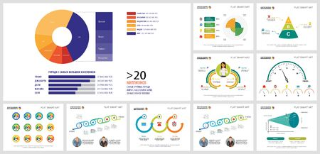Colorful infographic diagrams set can be used for presentation slide templates, workflow layout. Business and planning concept with pie, timeline, radial bar charts, cycles, percentage, process