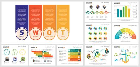 Colorful development and ecology concept infographics set can be used for brochure design, annual report, presentation slide, web design and includes bar, pie charts, cycles, percentage, process Ilustração