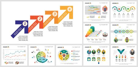 Colorful management or teamwork concept infographics set can be used for workflow layout, presentation slide, web design and includes bar, pie, line charts, cycles, percentage, process, schedule Ilustração