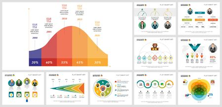 Colorful workflow or teamwork concept infographics set can be used for workflow layout, brochure design, reports, presentation and includes area, pie, flow, Venn charts, cycles, percentage, process