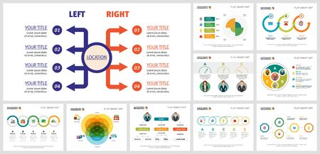 Colorful consulting or marketing concept infographics set can be used for workflow layout, reports, presentation slide, web design and includes pie, flow, Venn charts, cycles, percentage, process Ilustração