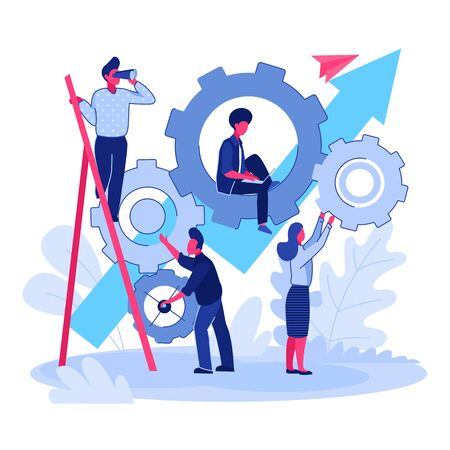 Team working on project together. People moving gear mechanism, growth chart flat vector illustration. Teamwork, management, cooperation concept for banner, website design or landing web page