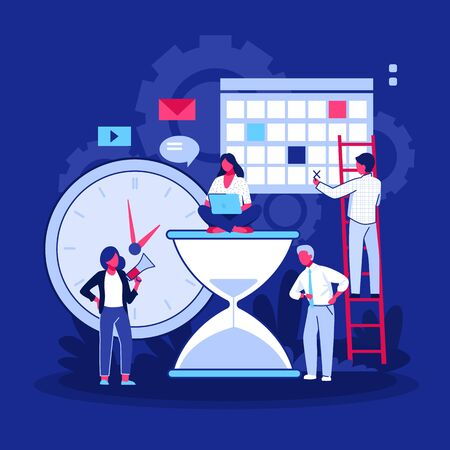 Successful project management. Team working on project near clock, sandglass, planning board flat vector illustration. Teamwork, leadership concept for banner, website design or landing web page